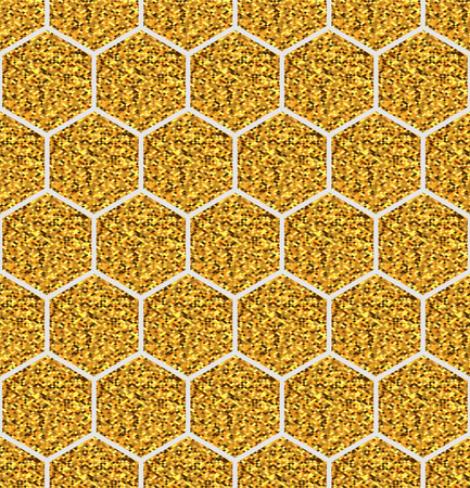 Seamless geometric pattern. Vector background with gold glitter hexagons. EPS10