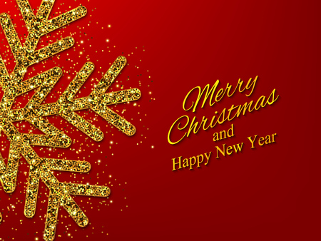Christmas, New Year background with gold glitter snowflake. Vector illustration EPS10