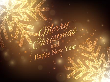 Christmas, New Year background. Gold glitter snowflakes. Vector background EPS10 Ilustração