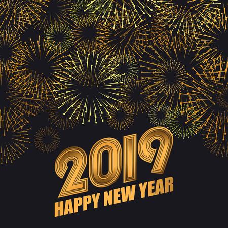 2019 Happy New Year greeting card. Vector background EPS10 Illusztráció