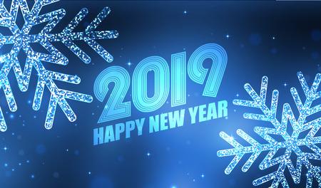 Happy New Year 2019 background with glitter snowflakes. Vector illustration EPS10 Illusztráció