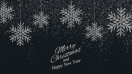 Christmas, New Year background with silver glitter snowflakes. Vector illustration EPS10 Ilustração