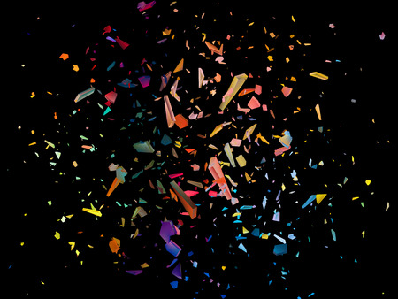 Colorful shards on black background. Abstract vector explosion. EPS10