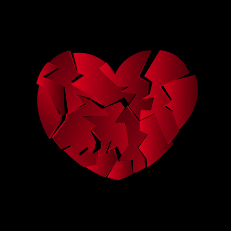 Red broken heart icon. Abstract vector illustration. EPS10