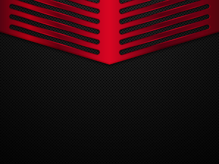 Black and red metal background. Vector metallic banner. Abstract technology background EPS10