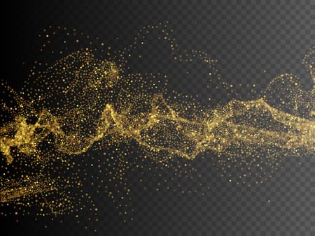 Gold glittering star dust trail sparkling particles. Vector background EPS10 Ilustrace