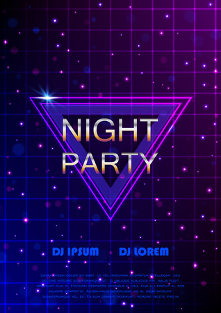 Night party flyer. Retro style. Vector poster template design. EPS10