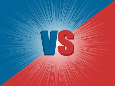 Versus screen design. Red and blue background. Vector Illustration