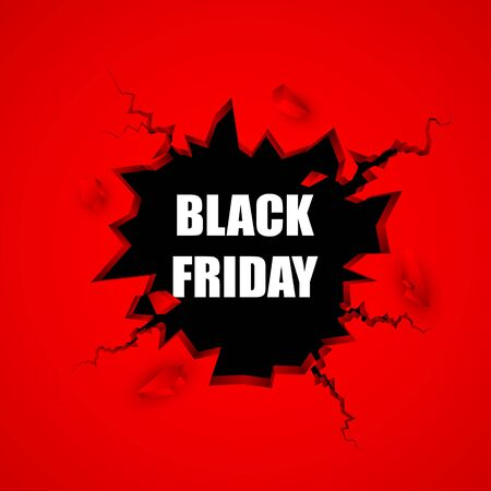 Black friday sale banner. Cracked hole with space for text. Vector illustration. EPS10 Illustration