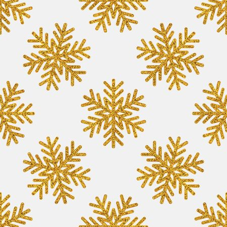 Christmas seamless pattern. Golden snowflakes on white background. Vector illustration