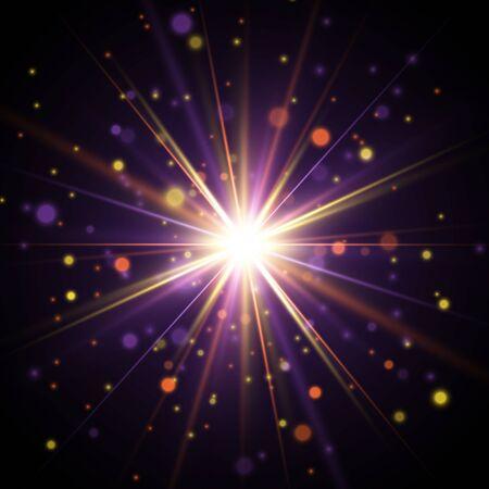 Effet de lumière. L'étoile a éclaté d'étincelles. Explosion de vecteur coloré.