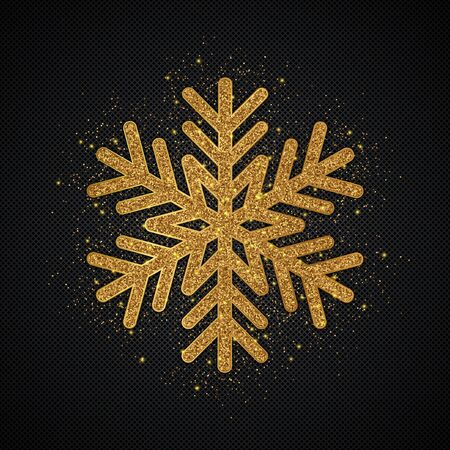 Gold Glitter Snowflake. Christmas, New Year greeting card. Vector Illustration. EPS10