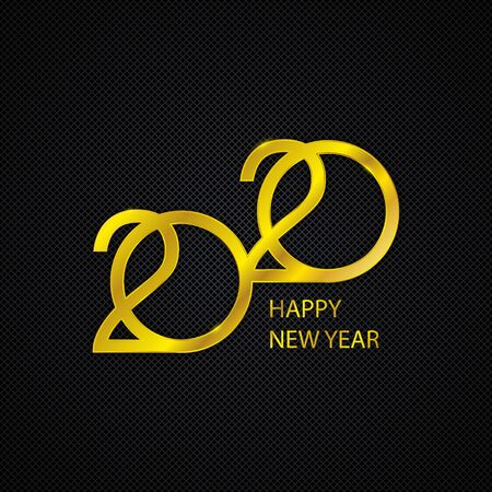 Golden 2020 New Year logo. Holiday greeting card. Abstract vector background