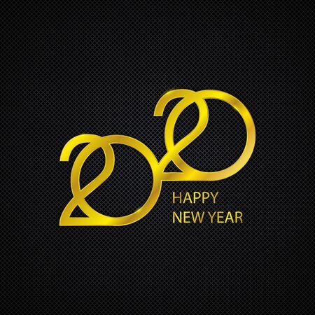 Logo dorato del nuovo anno 2020. Biglietto di auguri per le vacanze. Sfondo vettoriale astratto