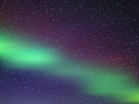 Cielo nocturno con estrellas. Auroras boreales. Ilustración de vector EPS10