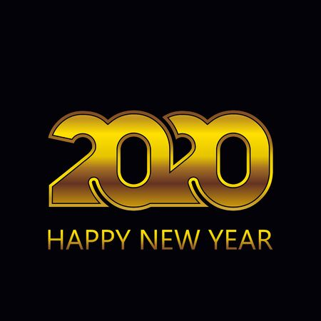 Golden 2020 New Year . Holiday greeting card. Abstract vector background. Standard-Bild - 136147280