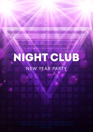 New Year 2020 night party flyer. Vector template design. Standard-Bild - 136147286