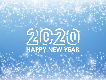 Falling stars effect. Christmas, 2020 New Year background. Vector illustration Ilustracja
