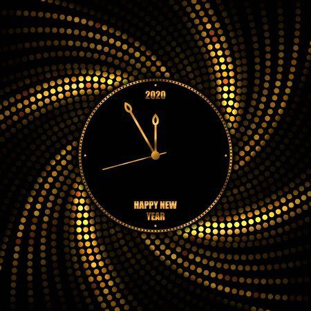 New Year 2020 golden background with clock. Vector illustration EPS10 Standard-Bild - 135842216