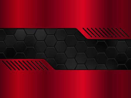 Abstract red and black metal background with hexagons. Vector illustration