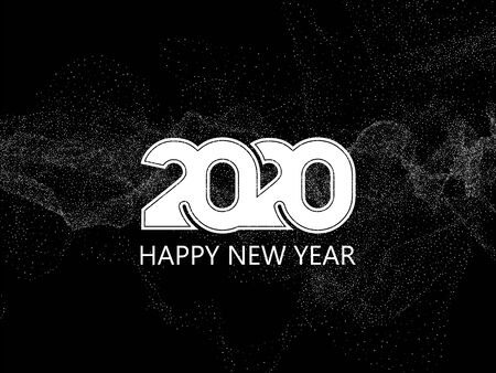 Happy New Year 2020 text design. Abstract vector background Ilustracja