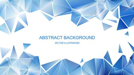 Blue polygonal pattern. Shards of ice Abstract geometric background. Vector illustration
