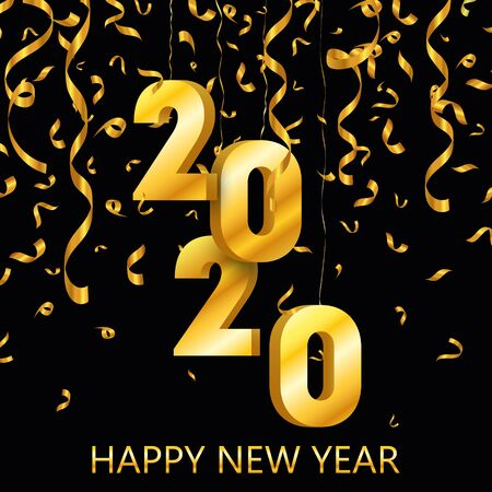 Happy new year 2020. Gold festive numbers design. Vector background EPS10