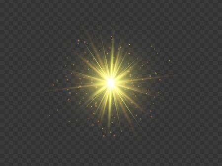 Golden star. Transparent glow light effect. Abstract vector explosion.