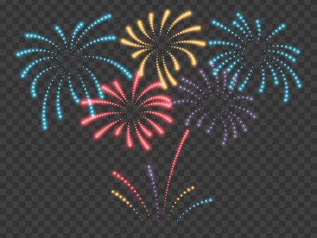 Fireworks vector illustration. Festive background. Transparent light effect. Vector illustration EPS10 Standard-Bild - 137025309
