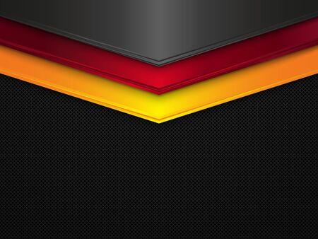 Metallbeschaffenheitshintergrund. Vektormetallisches Banner. Abstrakte Deutschland-Flagge. EPS10