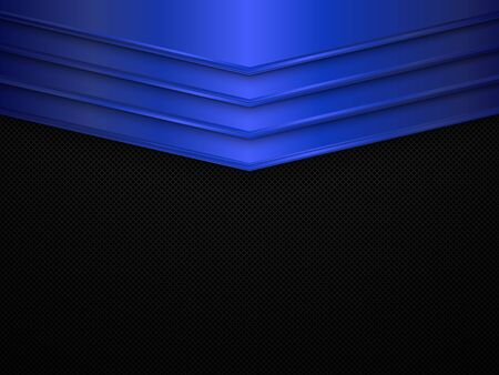 Black and blue metal texture background. Vector metallic banner. Abstract technology background EPS10