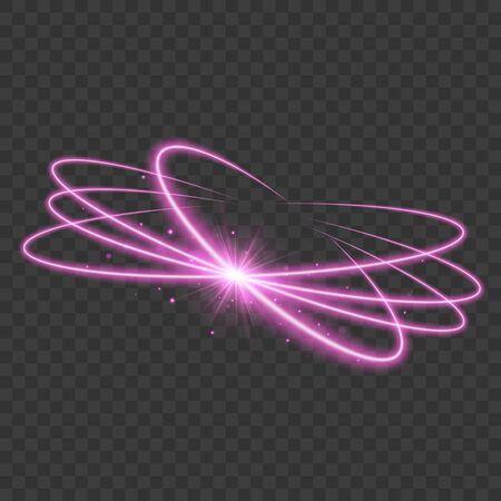 Neon light. Magic circle. Transparent glow light effect. Vector illustration EPS10 Ilustracja