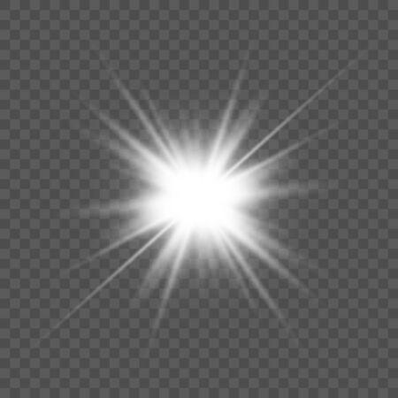 Transparent glow light effect. Star burst. Vector illustration