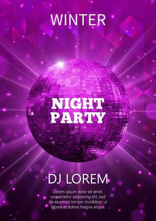 Night party flyer template design. Club vector poster.