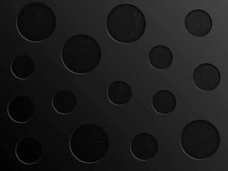 Black metal texture background with holes. Vector illustration EPS10