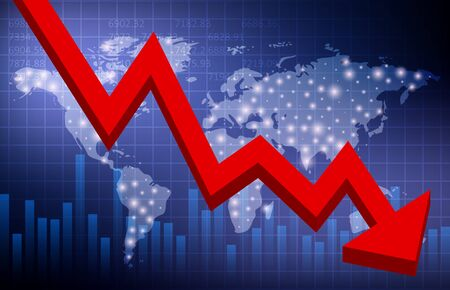 Global crisis. Falling Red Arrow Chart. World map. Vector illustration