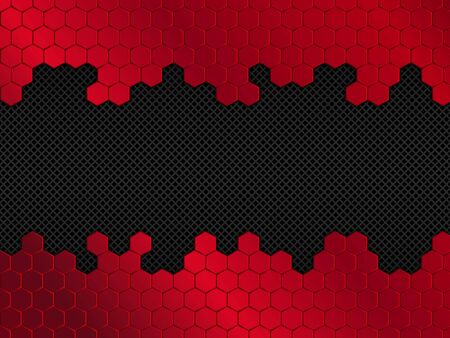 Abstract red and black background with hexagons. Vector illustration EPS10