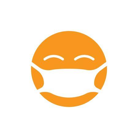 Emoji with mouth mask. Vector illustration EPS10 Illusztráció