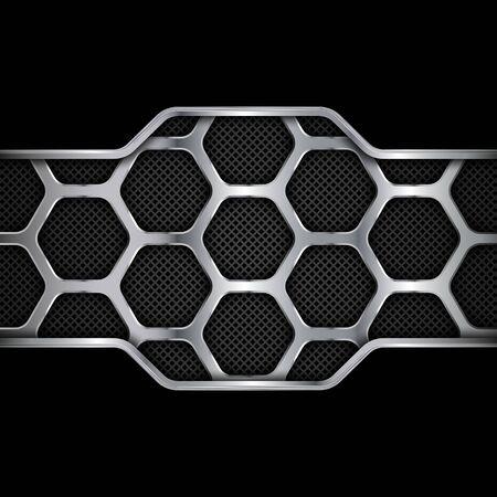 Metal background. Geometric pattern of hexagons. Vector illustration EPS10