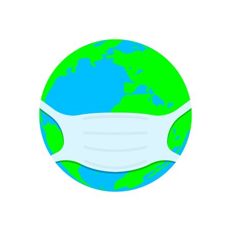 Planet earth in a medical face mask. Coronavirus, COVID-19 concept. Vector illustration EPS10