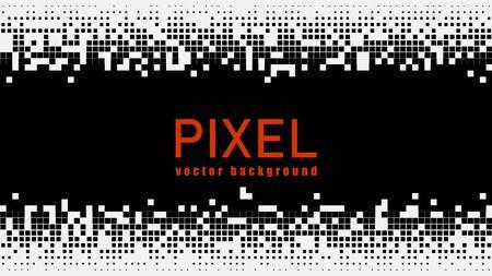 Pixel mosaic background. Black and white geometric background. Vector template design EPS1010 Illusztráció