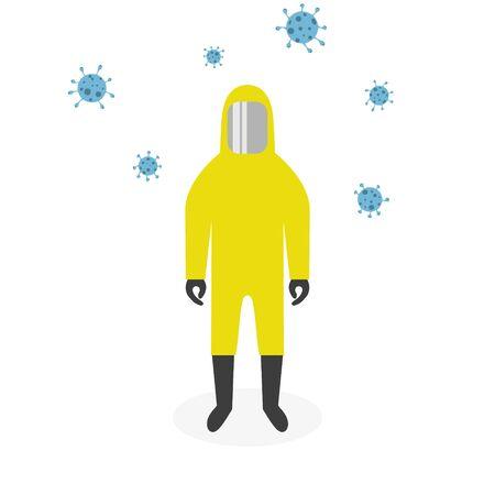 Man in protective suit. Coronavirus, covid-19. Vector illustration EPS10