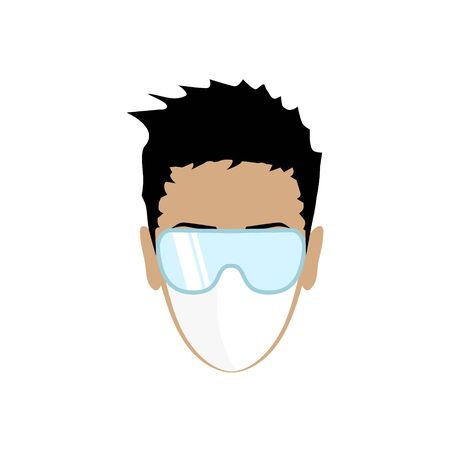 Man face with flu mask and protective glasses. Vector illustration EPS10