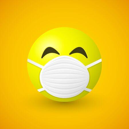 Emoji with mouth mask. Coronavirus, COVID-19 concept.