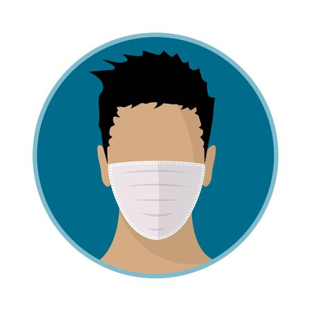 Man face with mask. Flat icon. Vector design