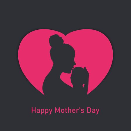 Mother and her child silhouette. Happy Mothers Day. Vector illustration EPS10