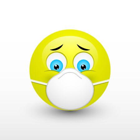 Emoji with mouth mask. Coronavirus, COVID-19 concept. Vector design EPS10 Illusztráció