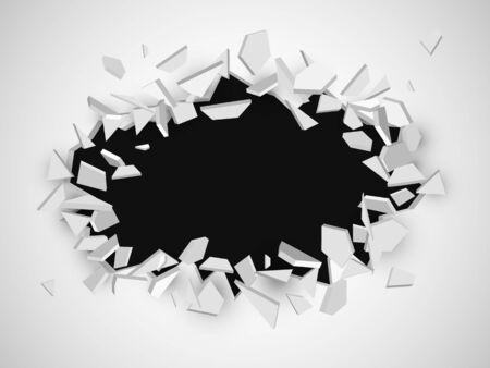 Broken wall with space for text. Abstract vector explosion EPS10