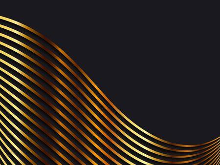 Black background with golden waves. Vector illustration EPS10