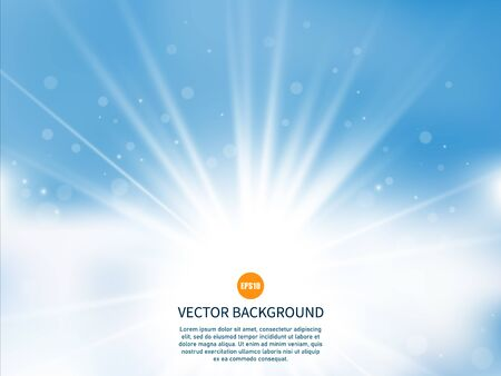 Sun with rays. Sunny background. Glow light effect. Summer time. Vector illustration EPS10